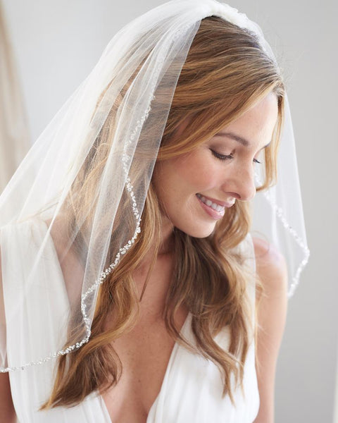 """The Julia"" Crystal Beaded Veil (plus veil hanger clip)-Veils-Sweet Heart Details"