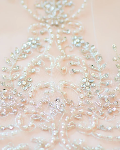 Extravagance Crystal Beaded Cathedral Veil - Sweet Heart Details