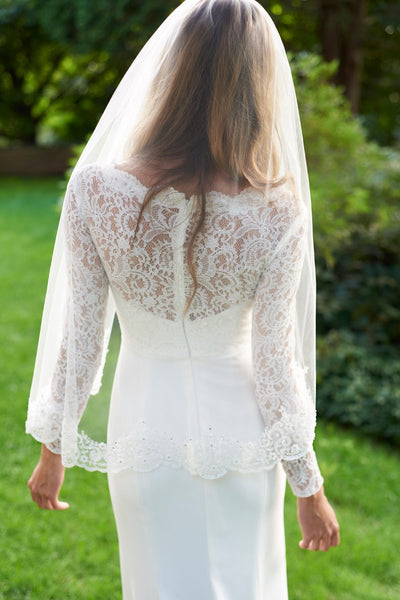 """The Claudia"" Lace & Beaded Bridal Veil - Sweet Heart Details"