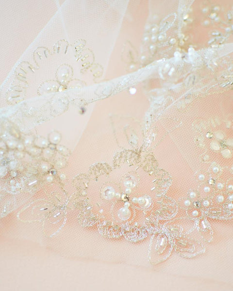 """The Ariya"" Crystal & Pearl Ivory Cathedral Veil-Veils-USA Bride-VB-5092-CA-IV-Sweet Heart Details"