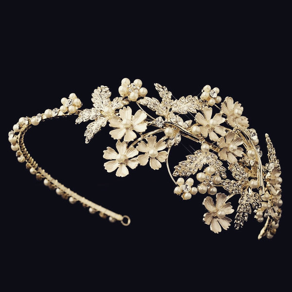 """The Vanessa"" Ivory Pearl Headband (Gold/Silver)-Tiaras & Headbands-Wedding Factory-Sweet Heart Details"