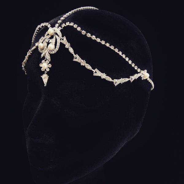 """The Viktoria"" Antique Silver Drop Headpiece"