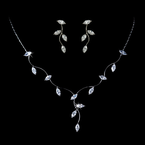 """The Keala"" Silver Wavy Marquise Cut Vine Necklace & Earrings Set - Sweet Heart Details"
