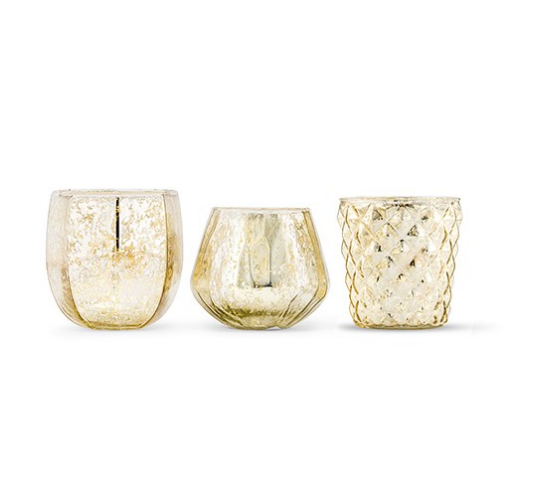 Gold Mercury Glass Votive Holder Or Bud Vase Set (10 sets of 3) - Sweet Heart Details
