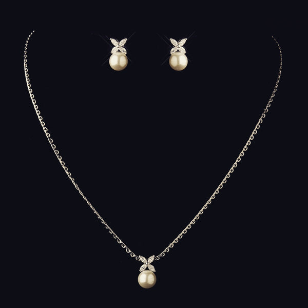"""The Zara"" Antique Pearl & Marquise Crystal XO Set"
