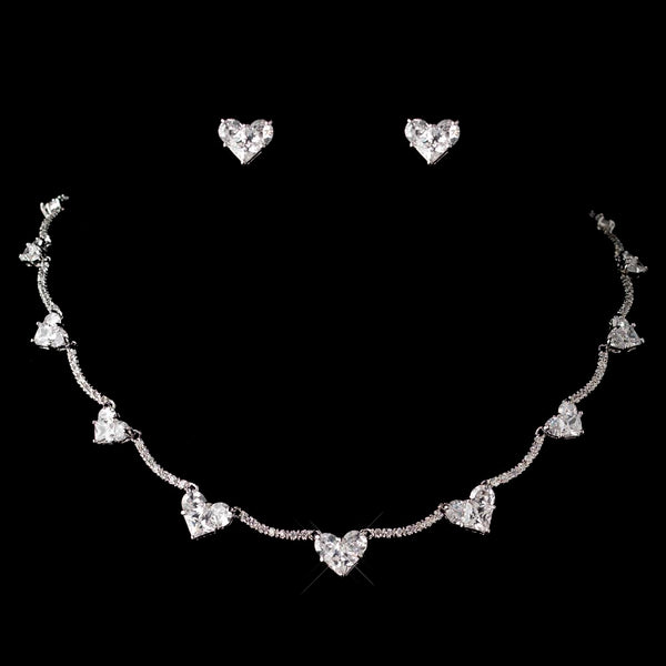 """The Theodora"" Heart Necklace and Earrings-Jewelry Sets-NE-1580-RD-CL-Sweet Heart Details"