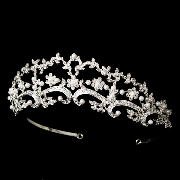 """The Regina"" Pearl & Rhinestone Bridal Tiara-Tiaras & Headbands-Wedding Factory-Sweet Heart Details"