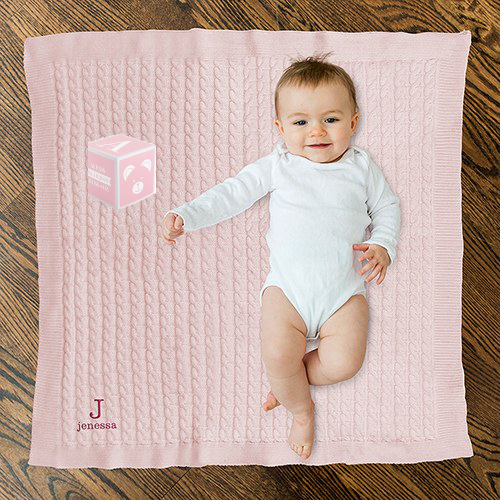 Personalized Baby Blanket and Keepsake Block (Pink or Blue) - Sweet Heart Details