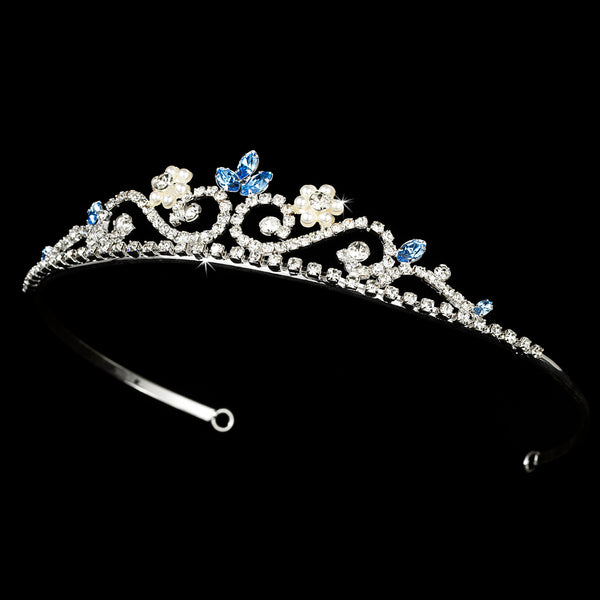"""The Mia"" Crystal & Pearl Tiara-Tiaras & Headbands-Wedding Factory-Sweet Heart Details"