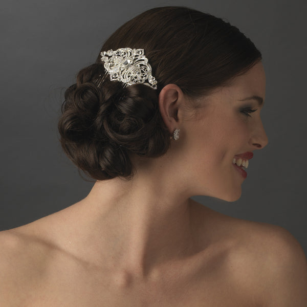 """The Etta"" Crystal Art-Deco Hair Comb-Combs & Clips-Wedding Factory-Sweet Heart Details"