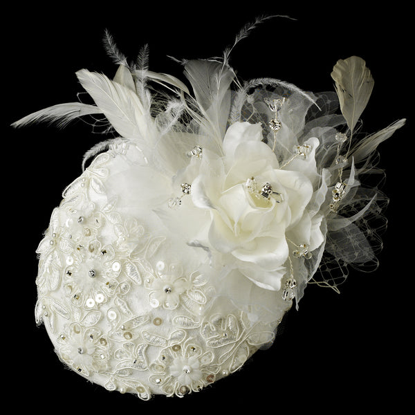 Beautiful Flower & Feather Hat Headpiece Veil Comb - Sweet Heart Details