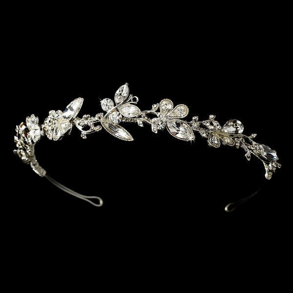 """The Alyssa"" Crystal Butterfly Headband-Tiaras & Headbands-Wedding Factory-HP-8123-S-CL-Sweet Heart Details"