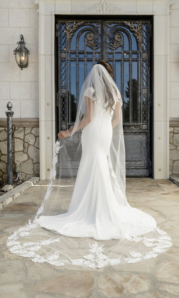 English Tulle Veil with Floral Beaded Design-V2098C white-Sweet Heart Details