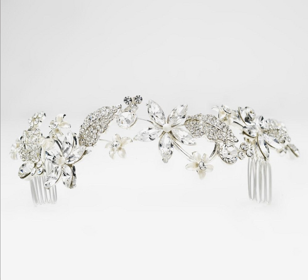 """The Octavia"" Rhinestone & Pearl Comb HeadPiece-Combs & Clips-Wedding Factory-Comb-9631-S-Clear-Sweet Heart Details"