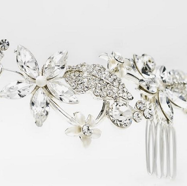 """The Octavia"" Rhinestone & Pearl Comb HeadPiece"