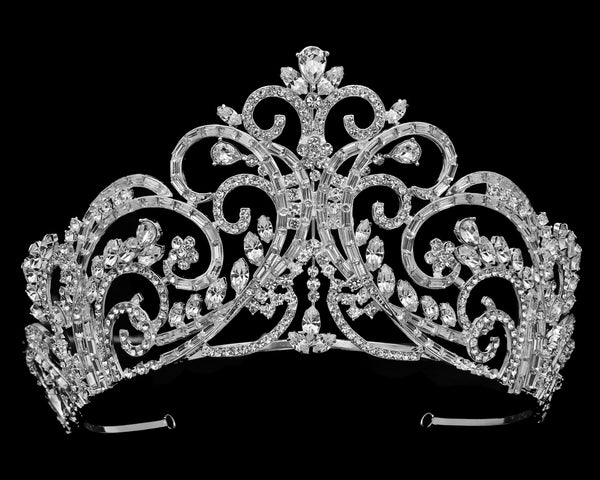 """The Cheryl"" 3.5"" Baguette Tiara-T-56183-Sweet Heart Details"