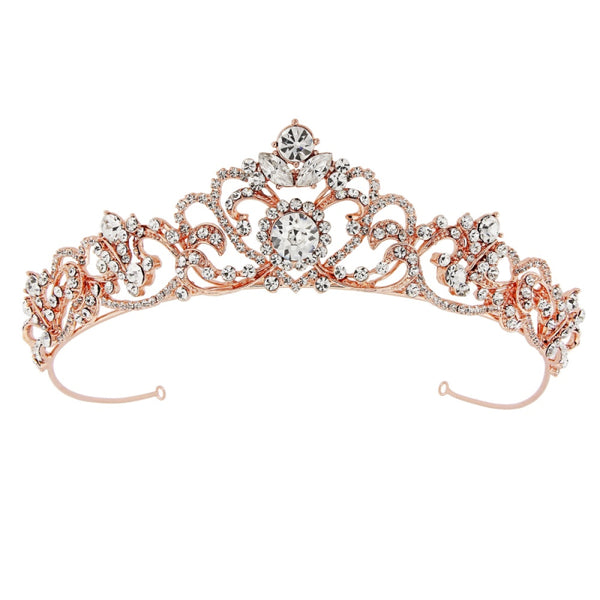 """The Davina"" Bejeweled Crystal Tiara - Sweet Heart Details"