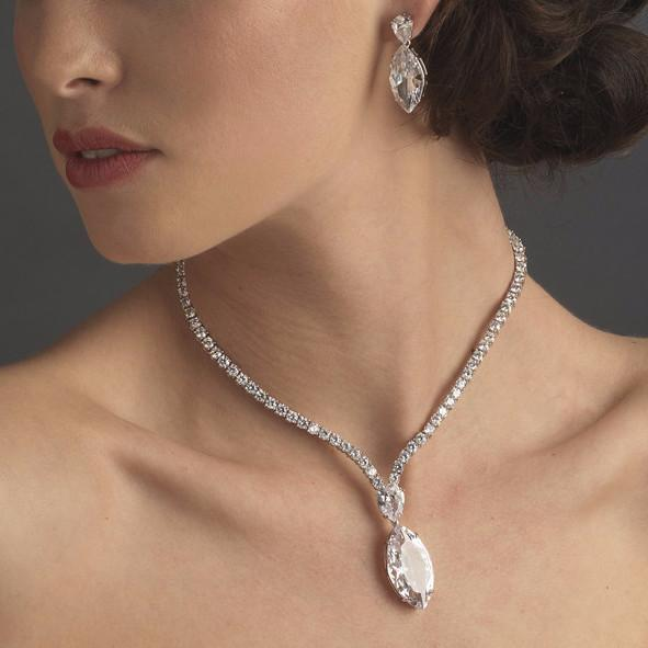 """The Stephanie"" Brilliant Cut Marquise Crystal Set-Jewelry Sets-Wedding Factory-E5400-and-N5067-Sweet Heart Details"