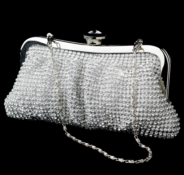 """The Lindsay"" Rhinestone Mesh Silver Evening Bag-Bags-Wedding Factory-EB-331-S-Clear-Sweet Heart Details"