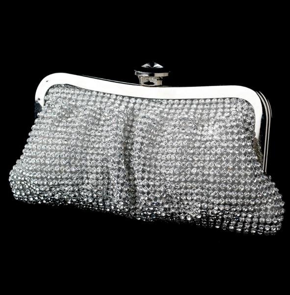 """The Lindsay"" Rhinestone Mesh Silver Evening Bag - Sweet Heart Details"
