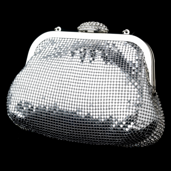 """The Matilda"" Silver Sparkle Evening Bag - Sweet Heart Details"