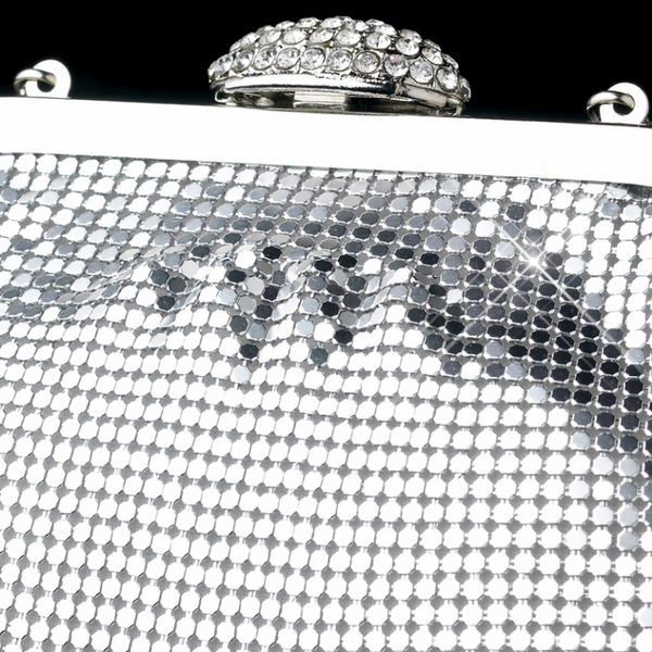 """The Matilda"" Silver Sparkle Evening Bag-Bags-Wedding Factory-EB-333-S-Clear-Sweet Heart Details"