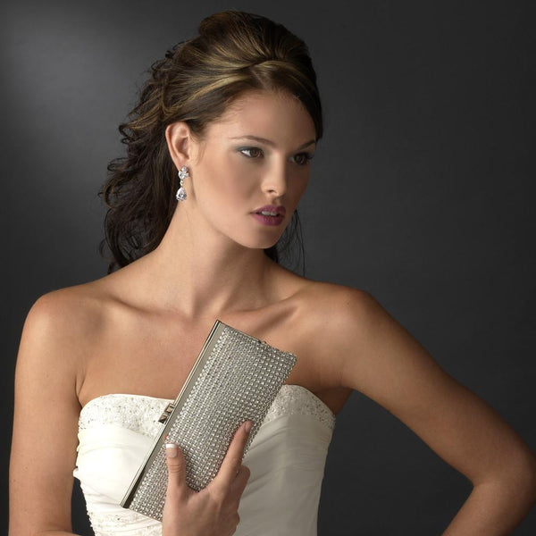 """The Shannon"" Silver or Gold Clear Crystal Evening Bag-Bags-Wedding Factory-Sweet Heart Details"