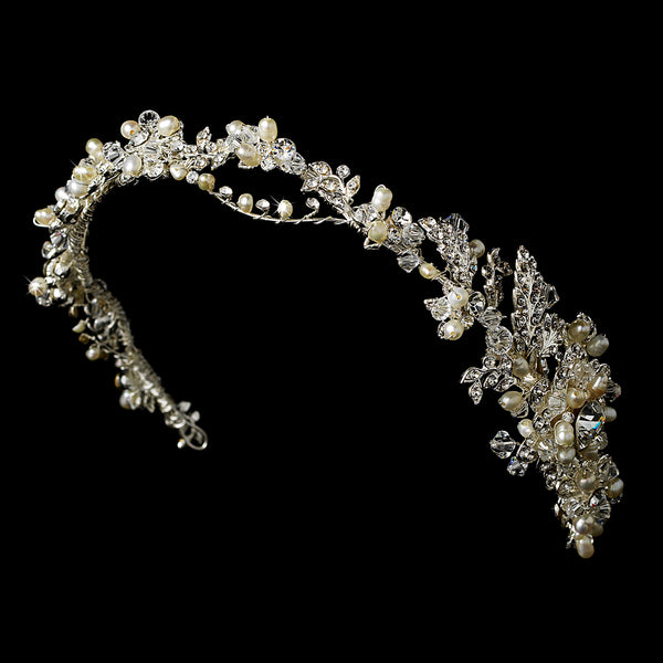 Elegant Pearl & Crystal Headband Side Accent - Sweet Heart Details