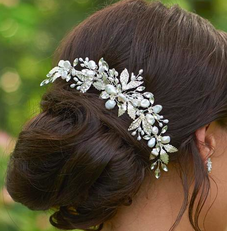 Floral pearl bridal back comb Sweet Heart Details