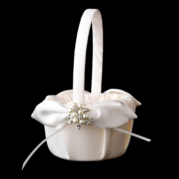 Flower Girl Basket with Silver Crystal & Pearl Brooch - Sweet Heart Details