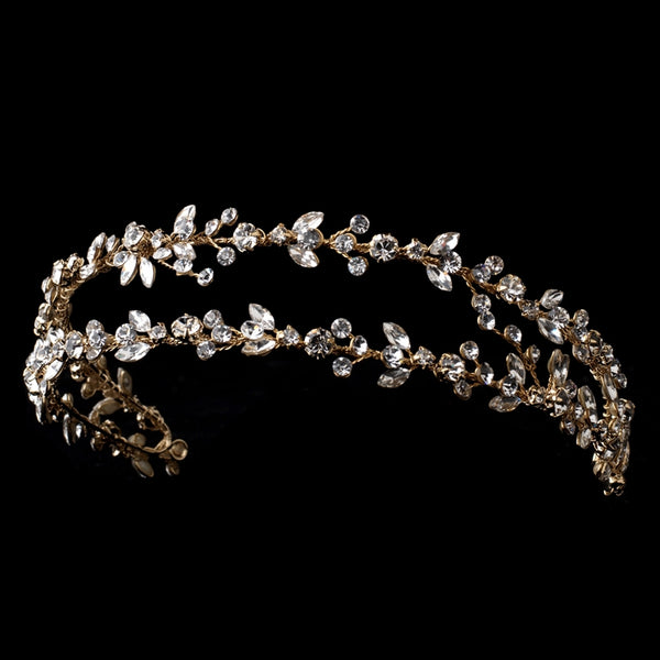 """The Martha"" Double Vine Crystal Headband-Tiaras & Headbands-Wedding Factory-Sweet Heart Details"