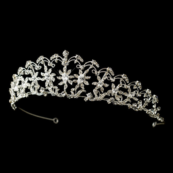 """The Idalia"" Silver Rhinestone Sun Floral Tiara-Tiaras & Headbands-Wedding Factory-HP-757-S-CL-Sweet Heart Details"