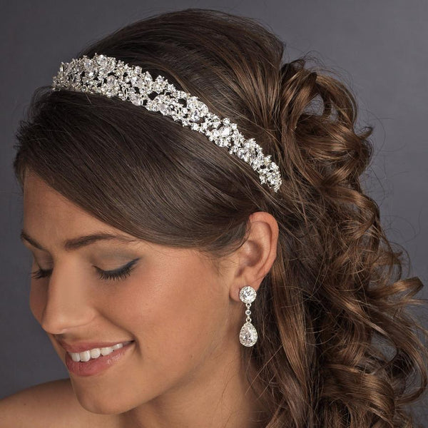 """The Zoe"" Silver/Gold CZ Elegant Headband - Sweet Heart Details"