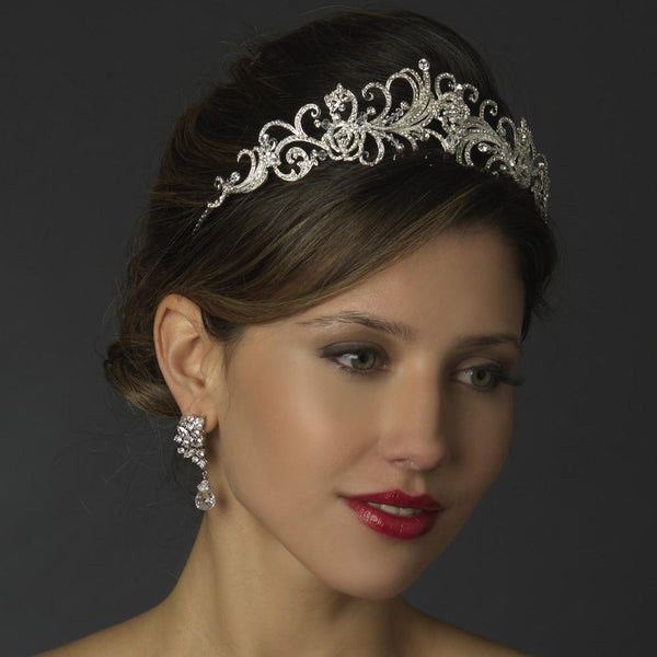 """The Kara"" Rhinestone & Crystal Swirl Tiara - Sweet Heart Details"