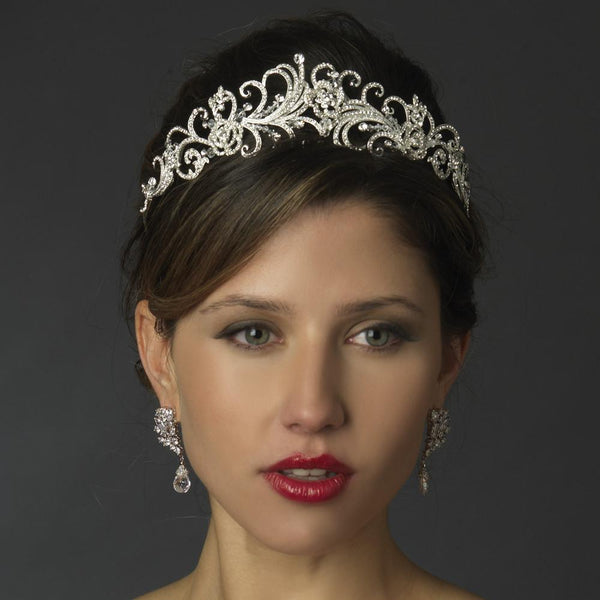 """The Kara"" Rhinestone & Crystal Swirl Tiara-Tiaras & Headbands-Wedding Factory-HP-863-S-CL-Sweet Heart Details"