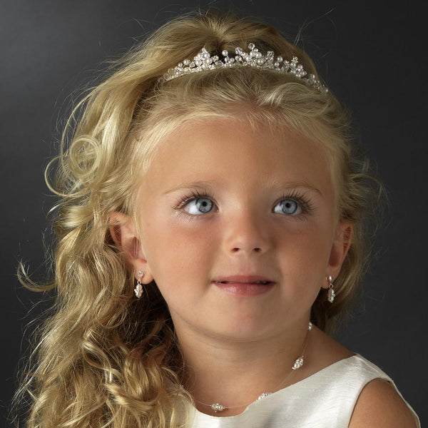 """The Jane"" Silver Rhinestone & White Pearl Flower Girl Headpiece Tiara-Tiaras & Headbands-Wedding Factory-HP-C-9322-S-WH-Sweet Heart Details"