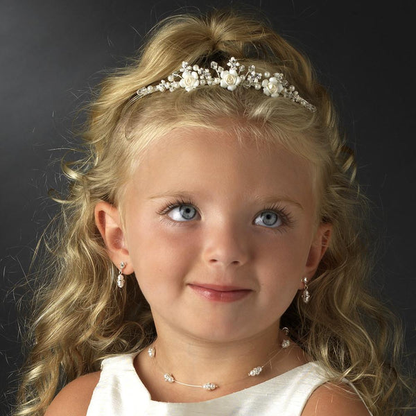 """The Janet"" Childrens Flower Girl Crystal & Ivory Rum Porcelain Tiara"