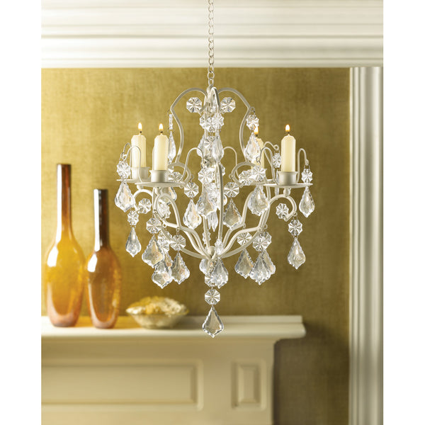 Ivory Baroque Candle Chandelier - Sweet Heart Details
