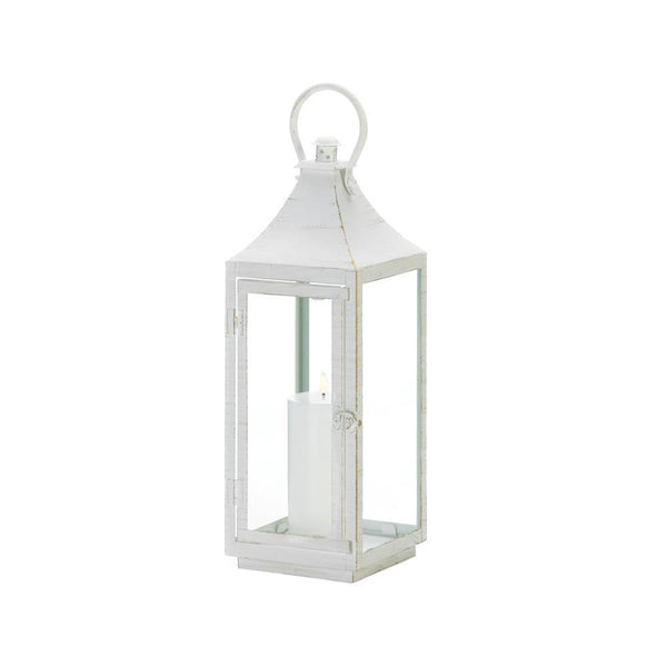 Traditional White Iron Lanterns-Lanterns, Candles-Kohler Home Decor-10018615-Sweet Heart Details