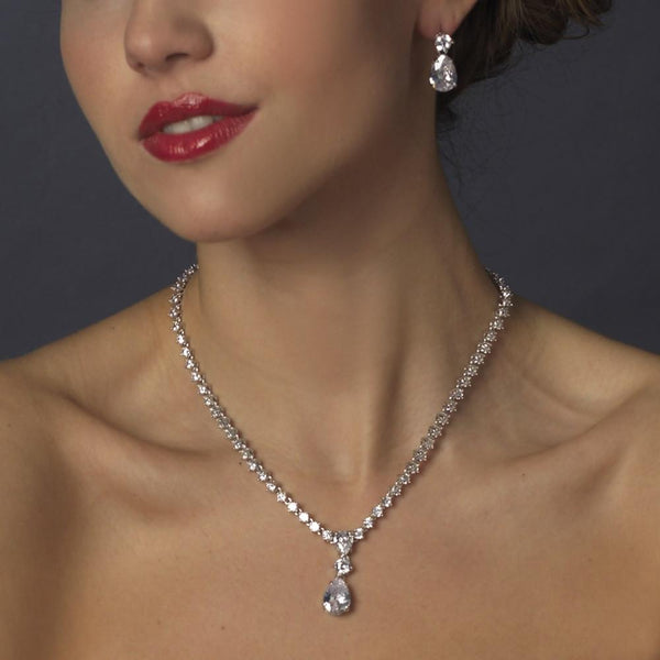 """The Tammy"" Sparkling CZ Teardrop Jewelry Set - Sweet Heart Details"