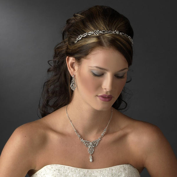 """The Polly"" Antique Silver Rhinestone Headband - Sweet Heart Details"