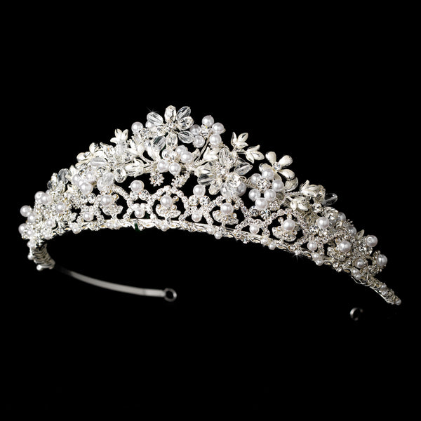 """The Kristin"" Swarovski Crystal and Pearl Floral Tiara"