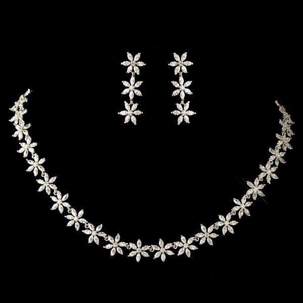 Rhodium Clear Marquise Flower CZ Crystal Jewelry Set-Jewelry Sets-NE-1542-RD-CL-Sweet Heart Details