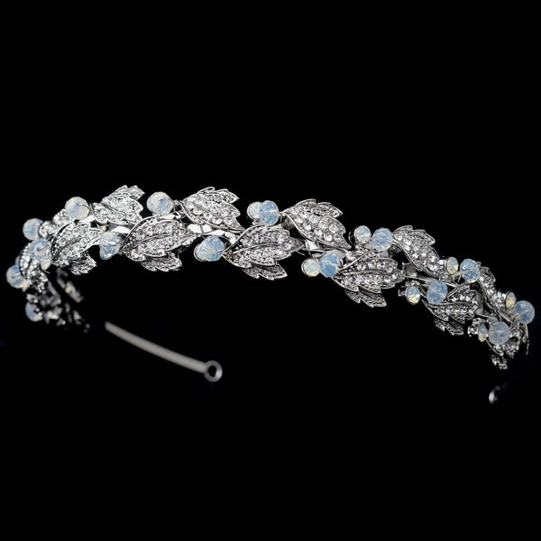 Rhodium Leaf Headband with Opal Accents - Sweet Heart Details