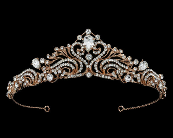"""The Joan"" Rose Gold Rhinestone Tiara-T-63609-Sweet Heart Details"