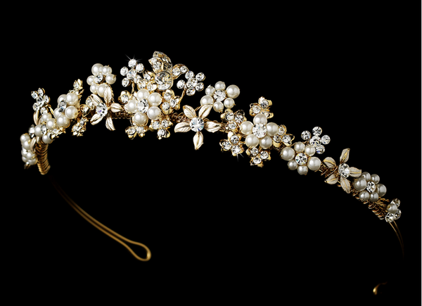 """The Samantha"" Pearl Floral Tiara - Sweet Heart Details"