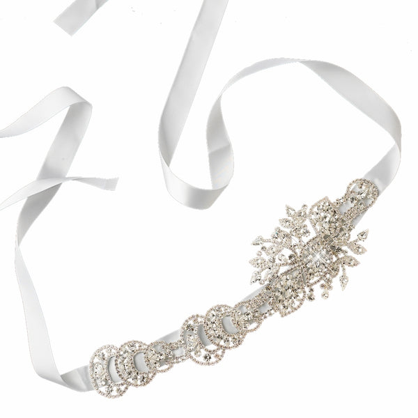 """The Melinda"" Modern Silver Rhinestone Belt/Headpiece-Sashes & Belts-Wedding Factory-HP-960-S-WH-Sweet Heart Details"