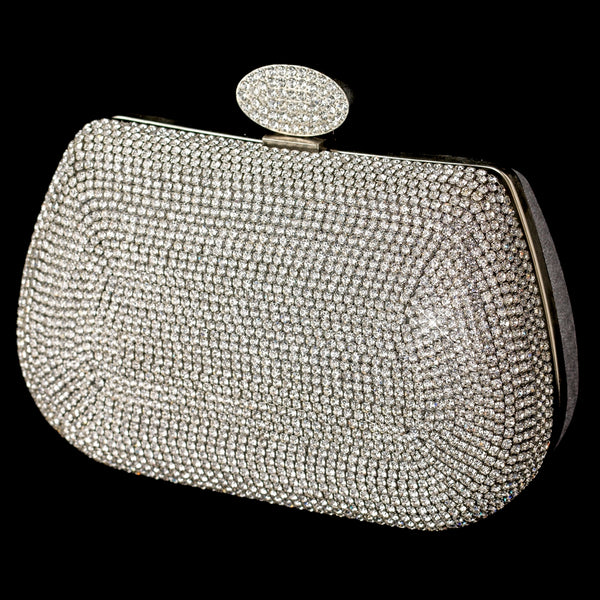 Rhinestone Encrusted Front Evening Bag with Link Chain - Sweet Heart Details