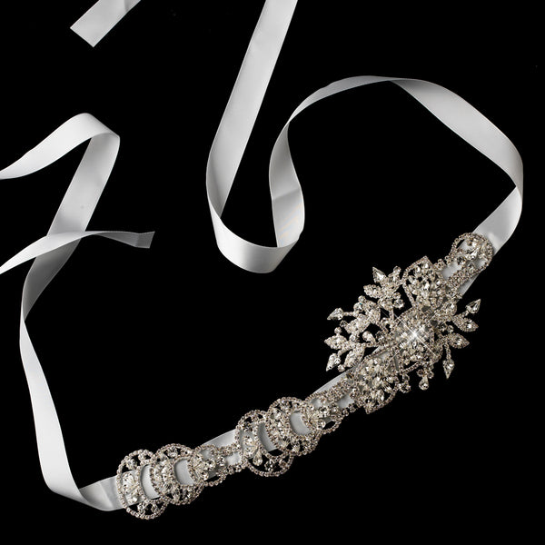 Silver Rhinestone & White Ribbon Belt / Headband - Sweet Heart Details