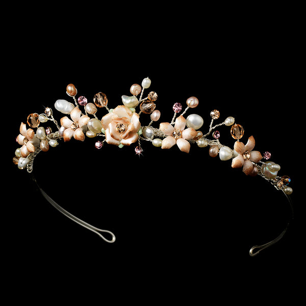 """The Keily"" Pink Porcelain Floral Pearl Tiara, Necklace, Earrings - Sweet Heart Details"